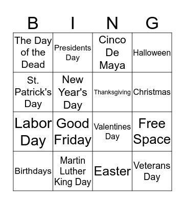 What is the meaning of the Holiday? Bingo Card