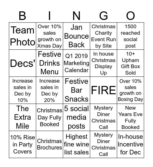 Christmas Bingo (Dream Team Region) Bingo Card