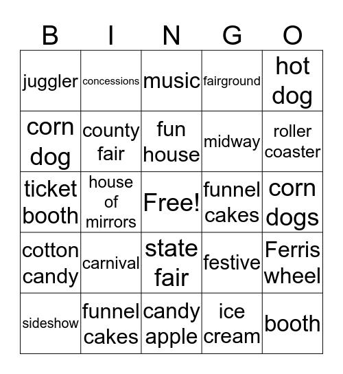Carnival Bingo Card