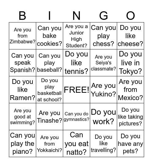 Do you? Can you? Are you? Bingo Card