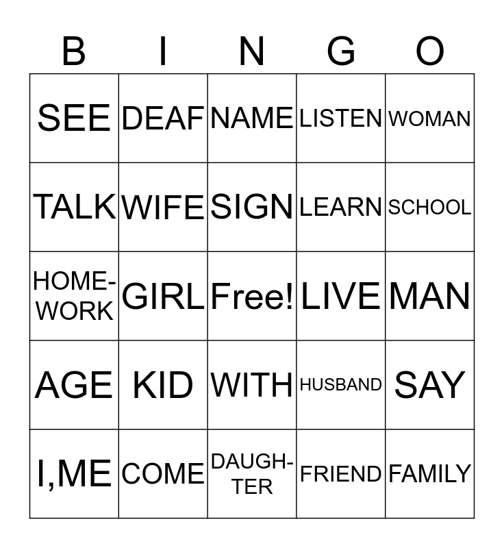 LESSON 1-3 Bingo Card