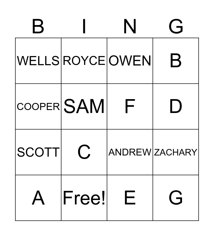 MY FRIENDS Bingo Card