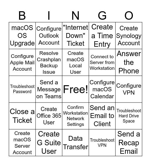 mac-tech Onboarding Bingo Card