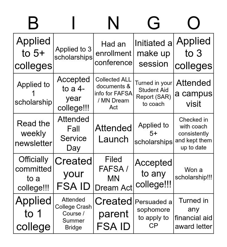 CP Senior Year Bingo Card