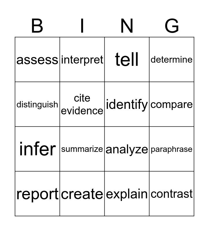 Critical Understanding: Direction Words Bingo Card