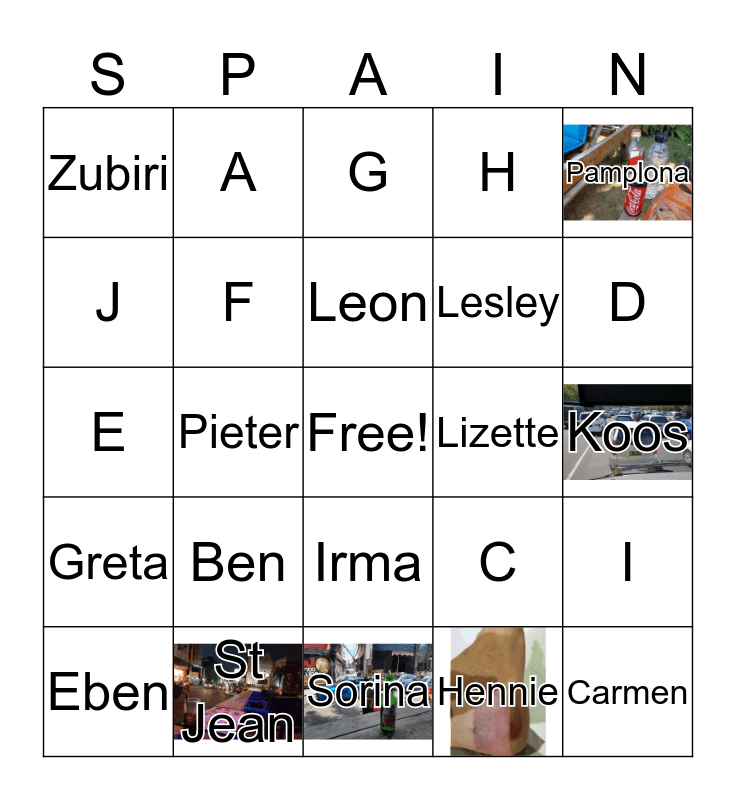 Camino 2018 Bingo Card