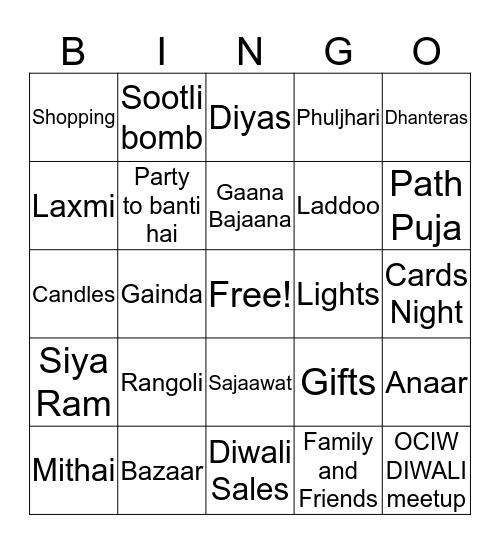 Diwali Bingo Fun Bingo Card