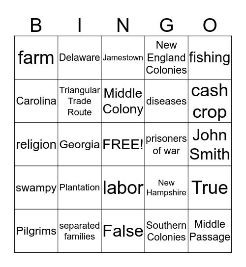 Thirteen Colonies Bingo Card