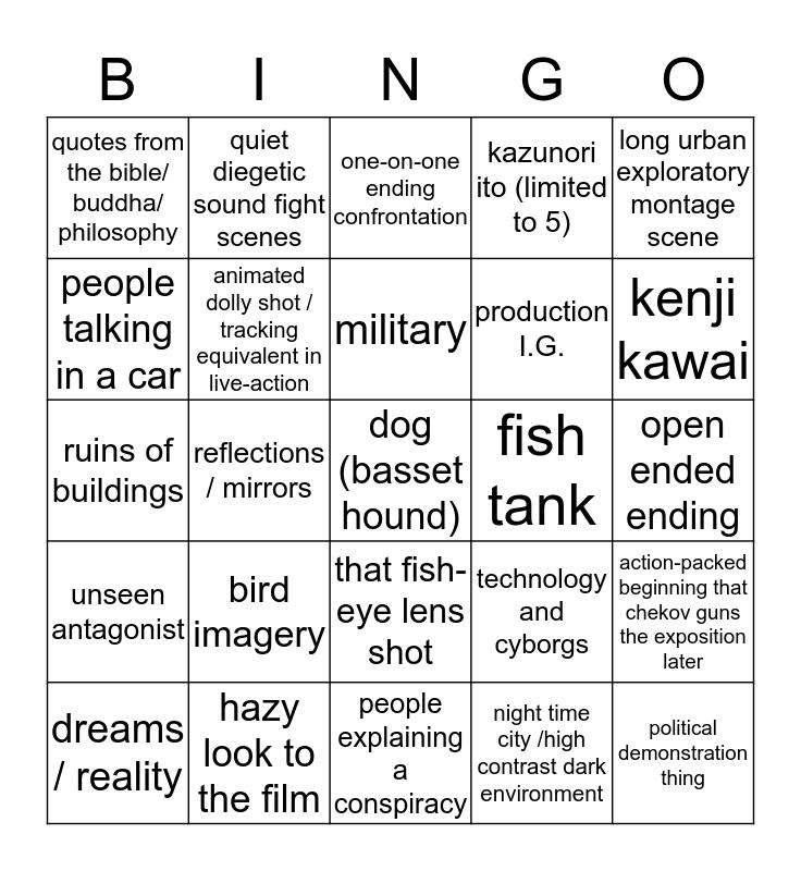 mamoru oshii  Bingo Card