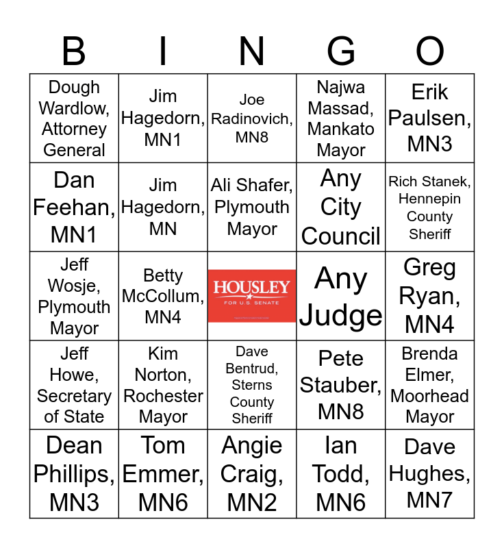Campaign Sign Bingo Card