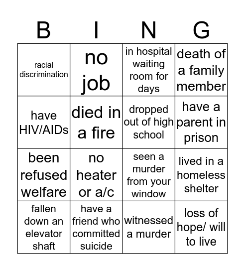 Reality Check Bingo  Bingo Card
