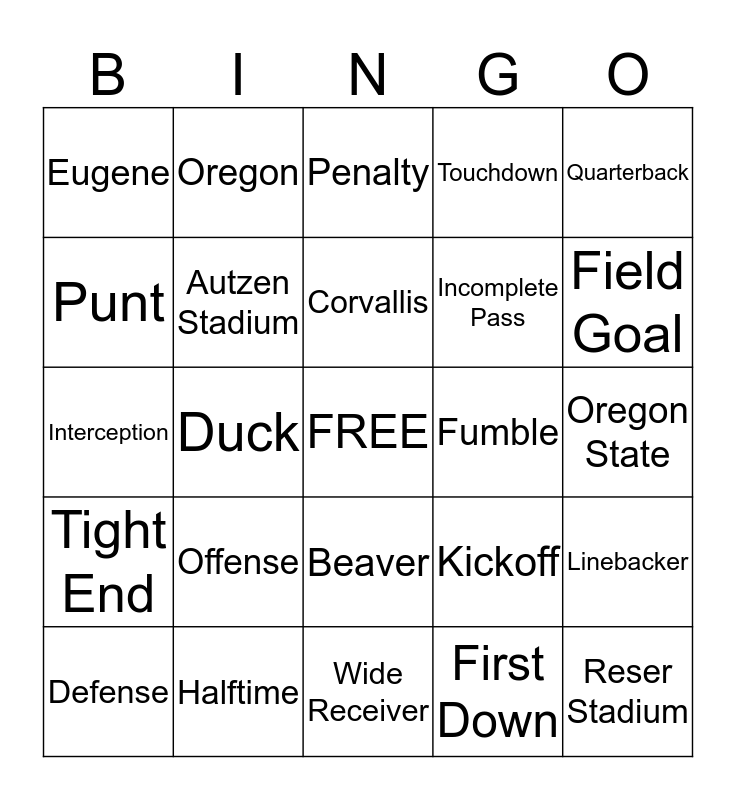 Civil War 2013 Bingo Card