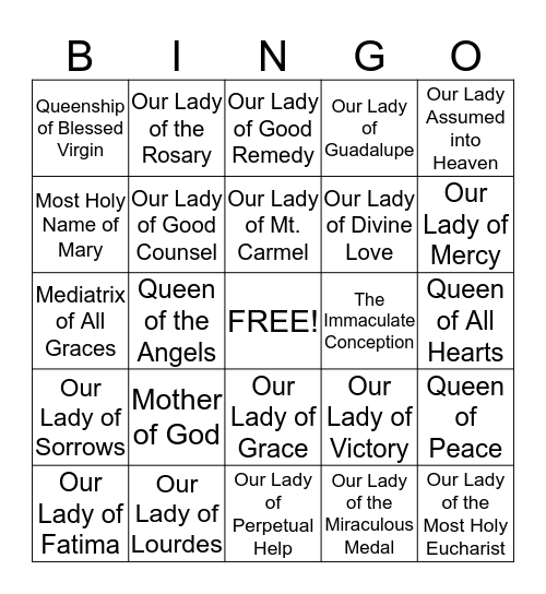 OUR LADY'S TITLES Bingo Card
