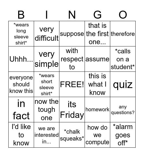 Things Ozturk Says Bingo Card