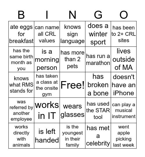 New Talent Bingo Card