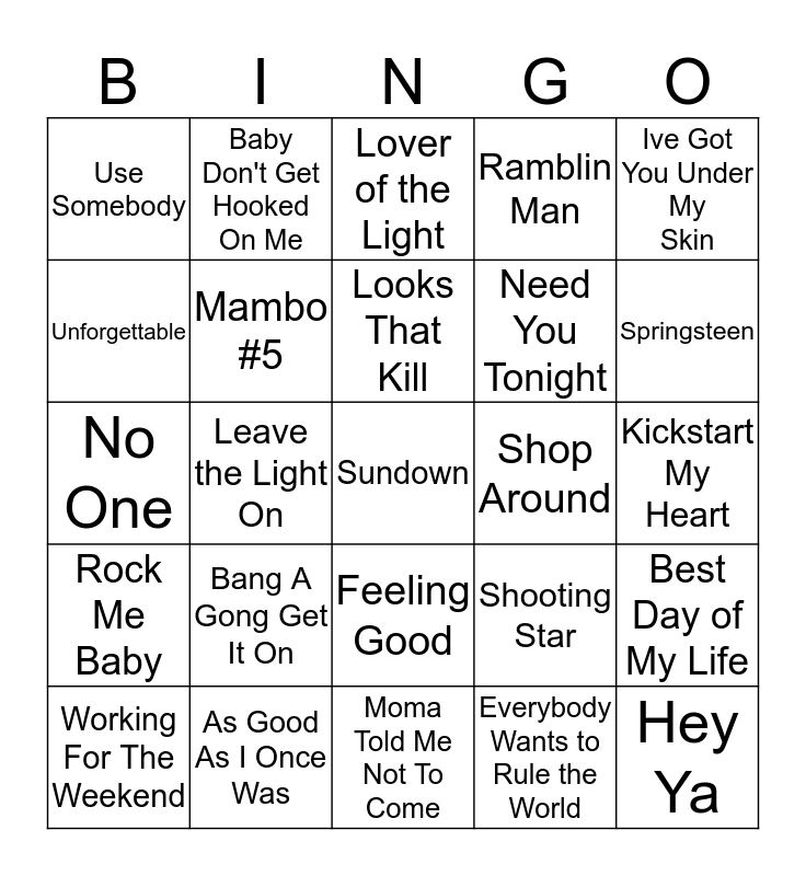 Boondocks Brews, Beats & Bingo 25-8 Bingo Card