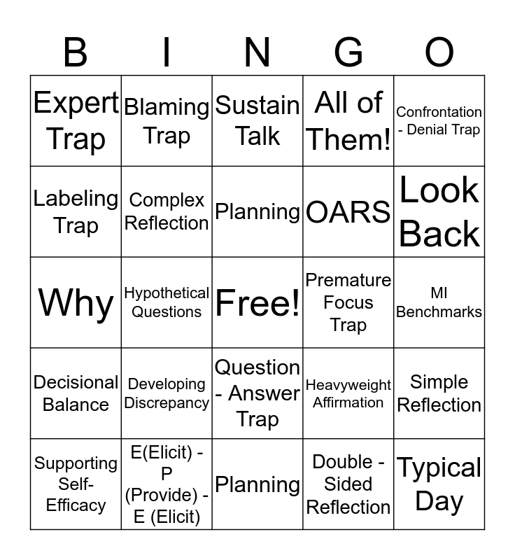 Motivation BINGO Card