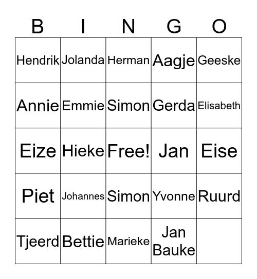 Familie Douna Bingo Card
