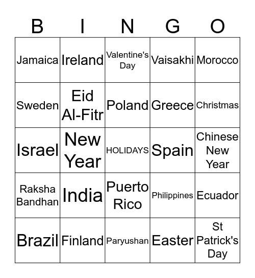Holidays Around The World  Bingo Card