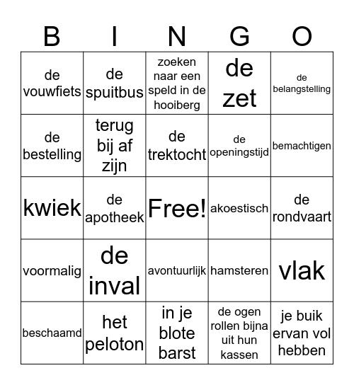 Woordenschat extra  Bingo Card
