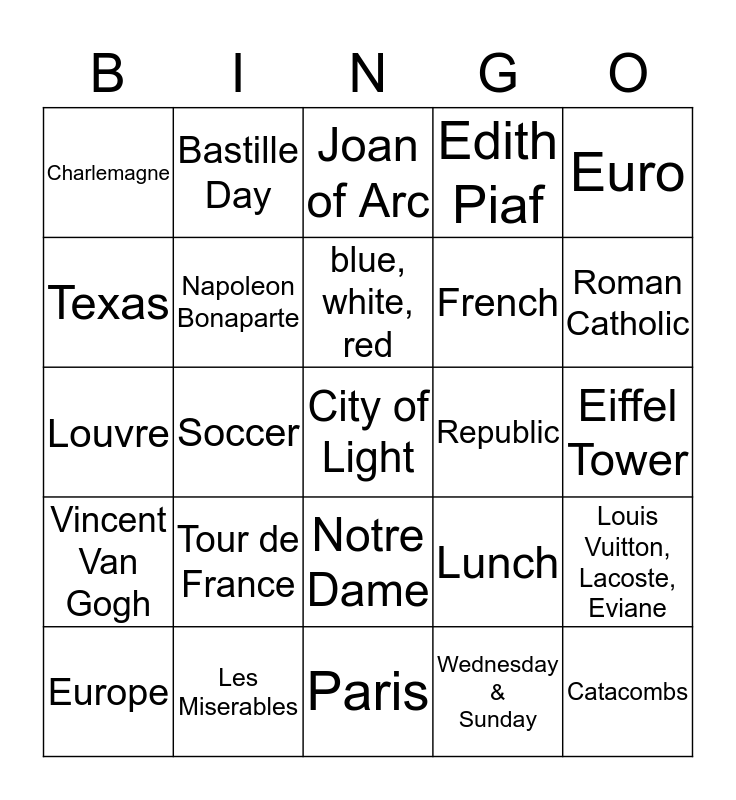 World Tapestries: France Bingo Card
