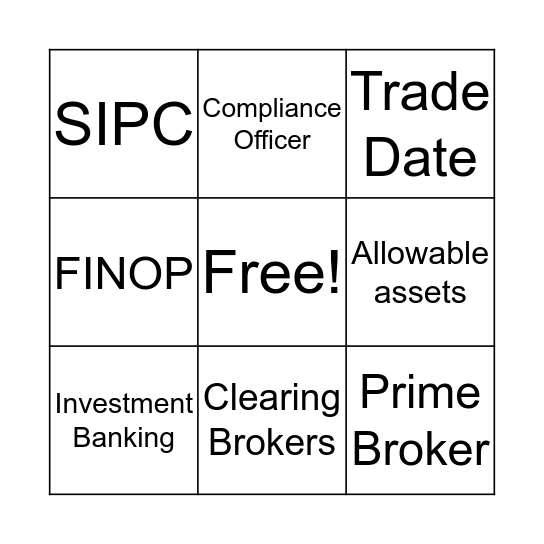 Broker Dealer Bingo Card