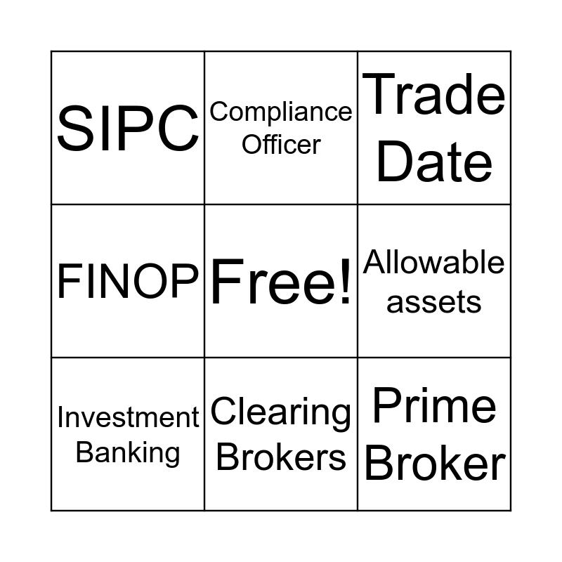 Broker Dealer Bingo Card
