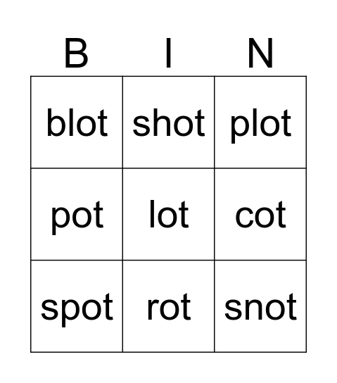 ot words Bingo Card