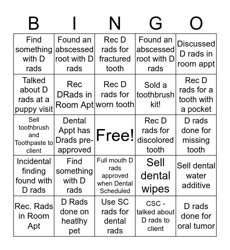 Dental Radiograph Competition Bingo Card