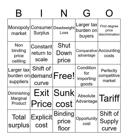 ECON 1001 Review Bingo Card