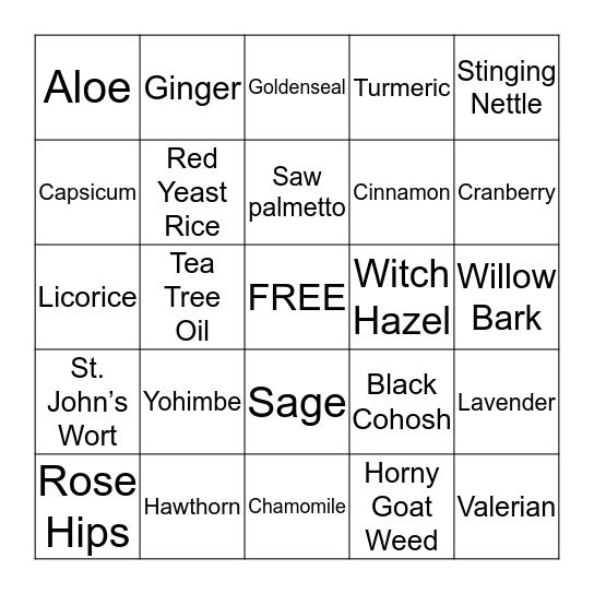 Herbal Bingo Card