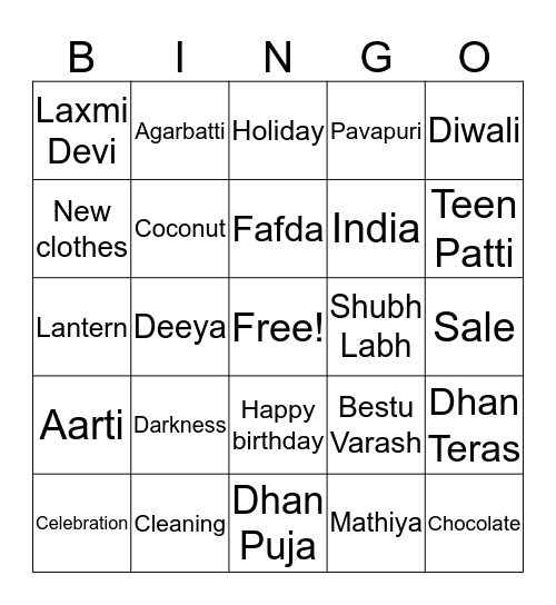 Diwali Bingo Deeya's 5th birthday Bingo Card