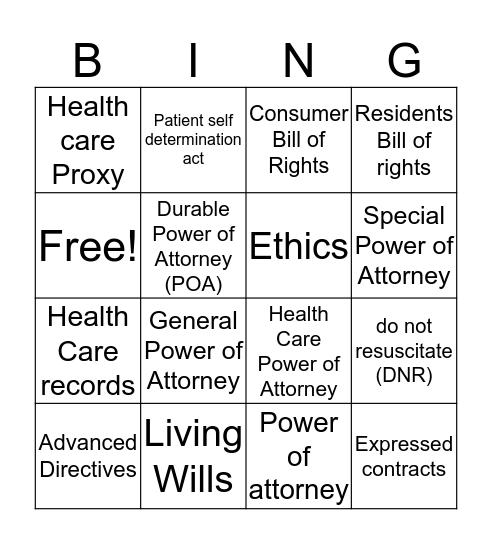 L.E Project Bingo Card
