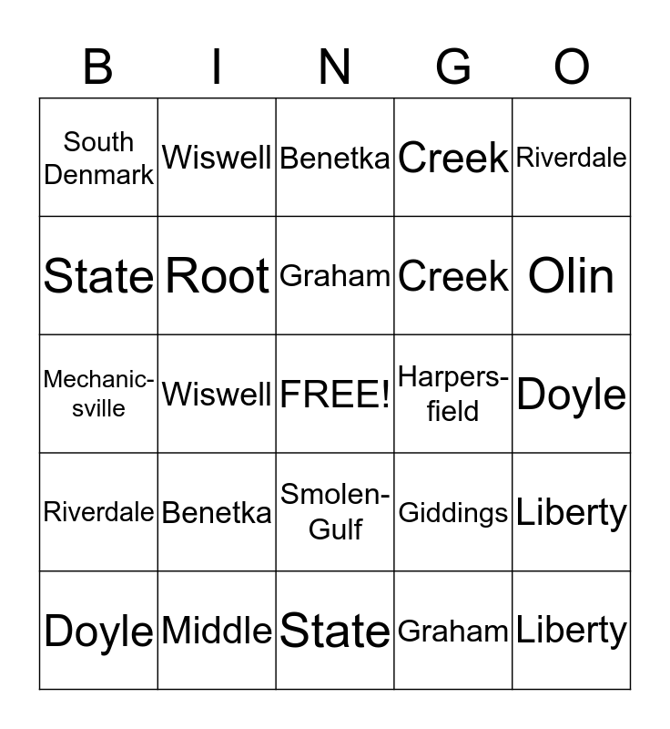 Covered Bridge Bingo  Bingo Card