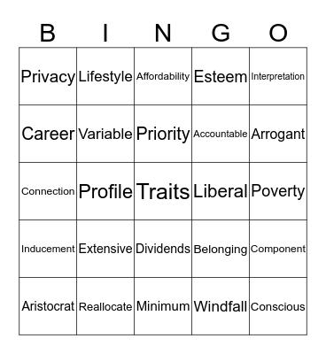 Kingo! Bingo Card