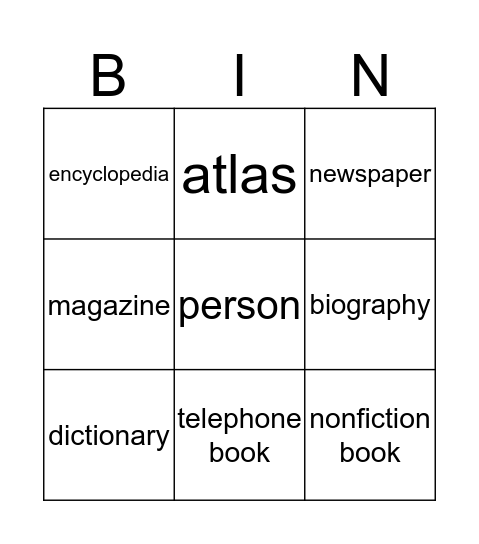 REFERENCE SOURCES Bingo Card