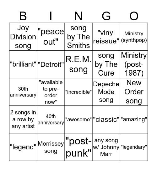 Classic Alternative Mixcloud  Bingo Card