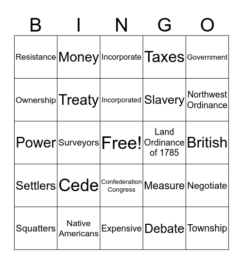 We're Free Lets Grow/Louisiana Bingo Card