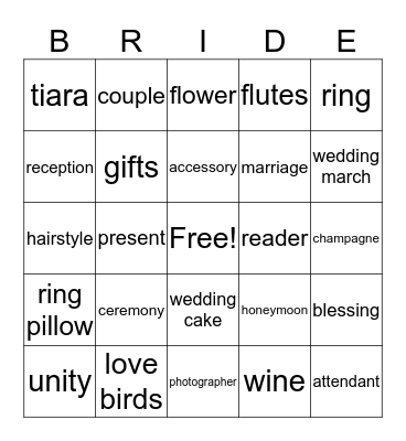 Rachel's Bridal Shower Bingo Card