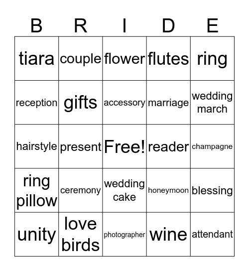 Rachel's Bridal Shower Bingo Card