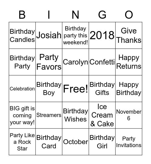 Josiah & Carolyn Birthday Brunch  Bingo Card