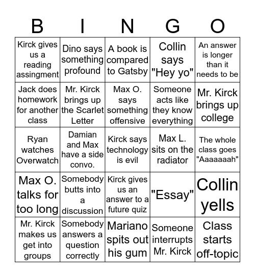 AP LIT Bingo Card