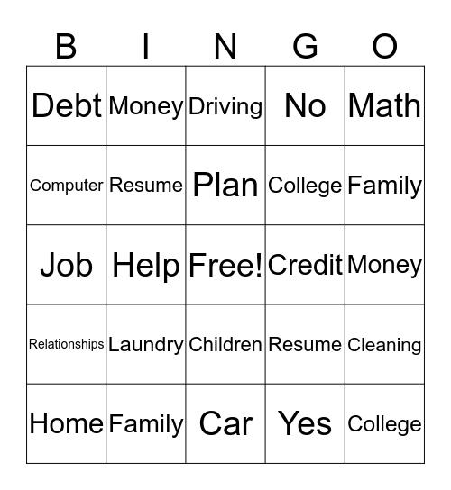 Life Skills Bingo Card