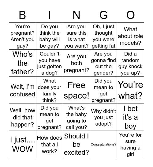 Queer preggo bingo Card
