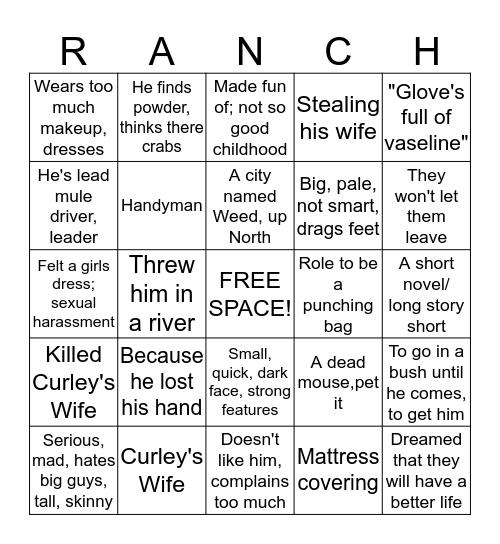 Of Mice and Men  Bingo Card