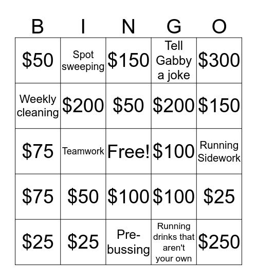 Holiday Gift Card Bingo Bango Extravaganza Bingo Card