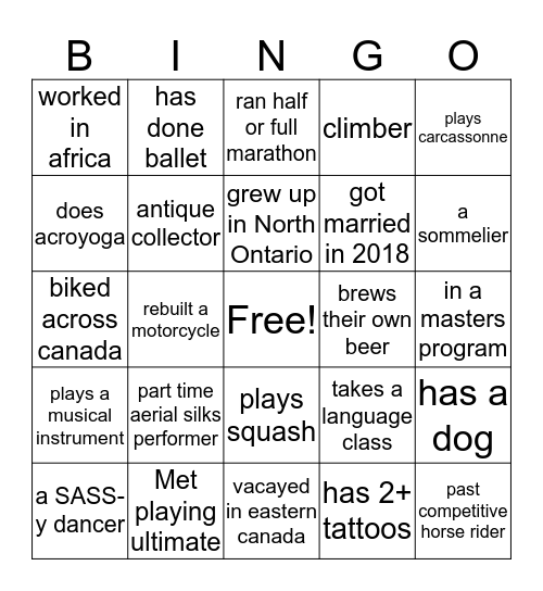 Engagement Bingo Card