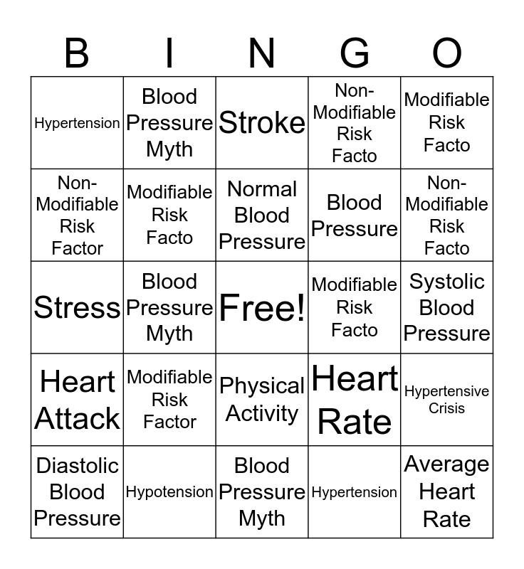 Heart Health Bingo Card