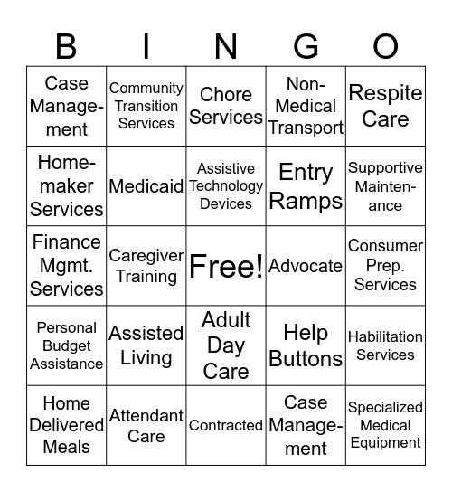 New Choices Bingo Card