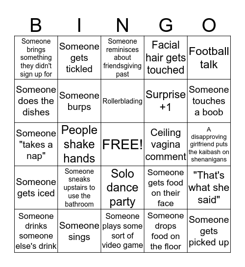 Friendsgiving Bingo Card